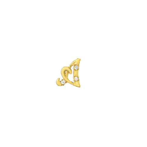 Gold Diamond Accented Cursive Initial Post Single Earring (Style#10928-10953)
