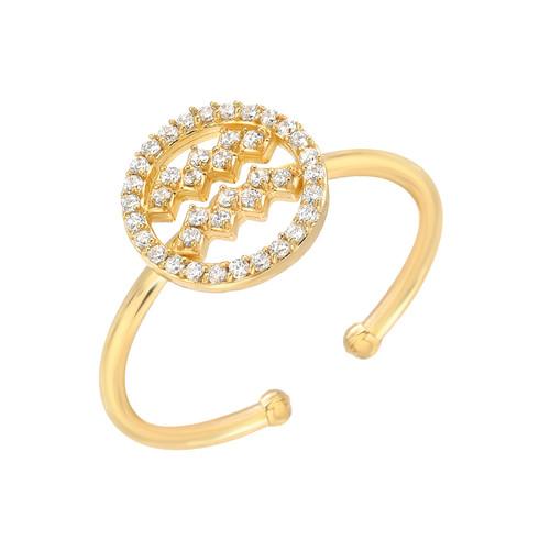Gold Diamond Studded Zodiac Dazzling Halo Ring (Style#10825-10836)