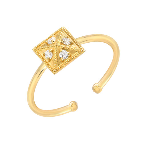 Stunning Diamond Accented Pyramid Modern Look Adjustable Ring (Style#10916)