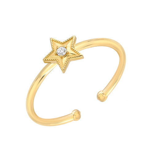 Chic Brillaint Diamond Accented Dazzling Star Adjustable Ring (Style#10919)