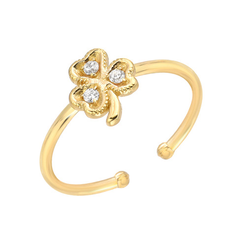 Adorable Diamond Accented Lucky Clover Shamrock Adjustable Ring (Style#10924)