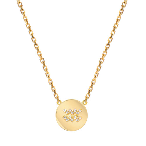 Gold Modern Look Diamond Accented Round Frame Zodiac Necklace (Style#10992-11003)