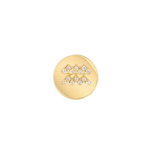 Gold Modern Look Diamond Accented Round Frame Zodiac Earring (Style#10992-11003)