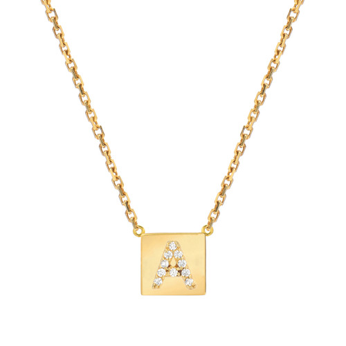 Gold Brilliant Diamond Set Initial Square Frame Necklace (Style#11052-11077)