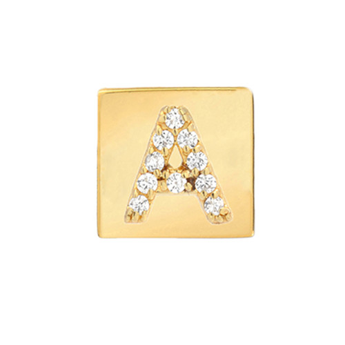 Gold Brilliant Diamond Initial Square Frame Single Earring (Style#11052-11077)