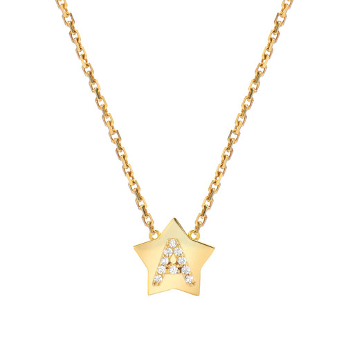 Gold Brilliant Diamond Set Initial Star Frame Necklace (Style#11078-11103)