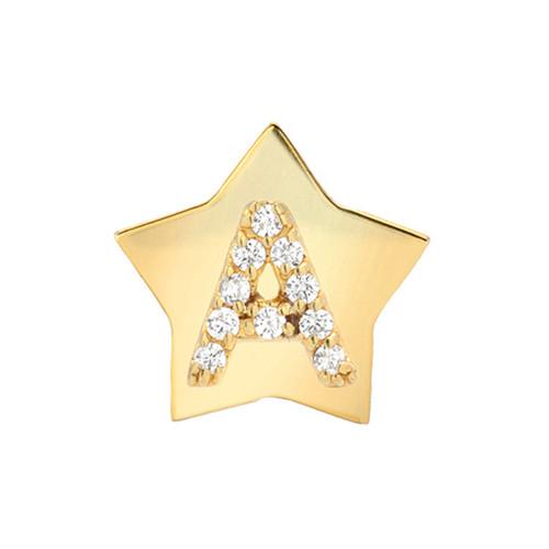 Gold Brilliant Diamond Initial Star Frame Single Earring (Style#11078-11103)