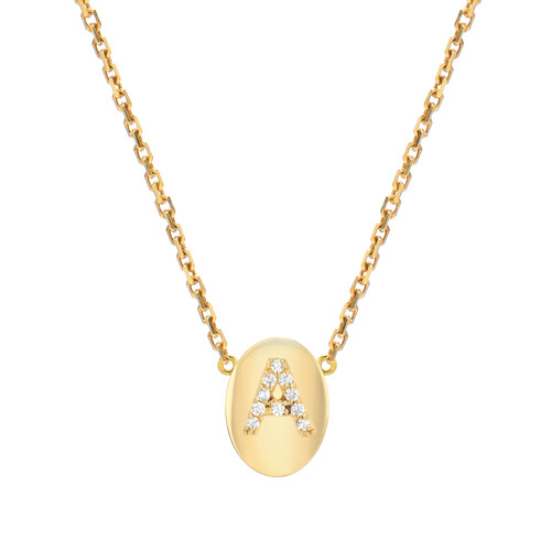 Gold Brilliant Diamond Set Initial Oval Frame Necklace (Style#11104-11129)