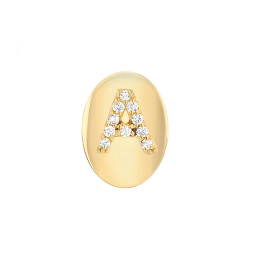 Gold Brilliant Diamond Initial Oval Frame Single Earring (Style#11104-11129)