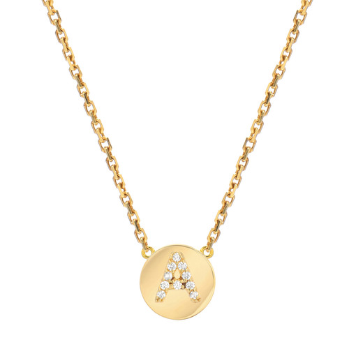 Gold Brilliant Diamond Set Initial Round Frame Necklace (Style#11130-11155)