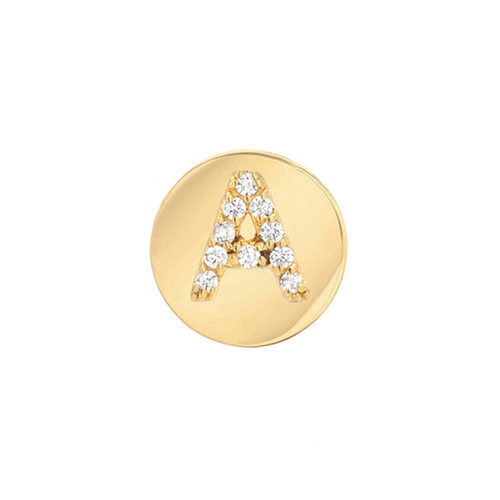 Gold Brilliant Diamond Initial Round Frame Single Earring (Style#11130-11155)