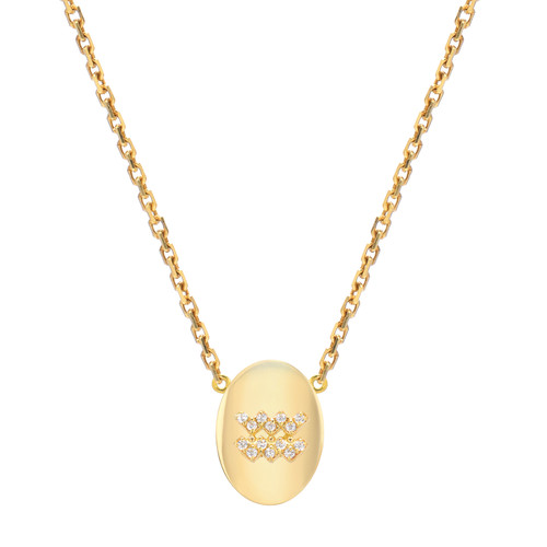 Gold Modern Look Diamond Accented Oval Frame Zodiac Necklace (Style#11004-11015)