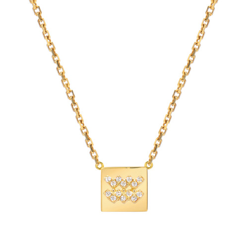 Gold Modern Look Diamond Accented Square Frame Zodiac Necklace (Style#11040-11051)