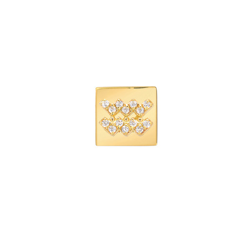 Gold Modern Look Diamond Accented Square Frame Zodiac Earring (Style#11040-11051)