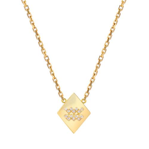 Gold Modern Look Diamond Accented Diamond Shape Zodiac Necklace (Style#11016-11027)