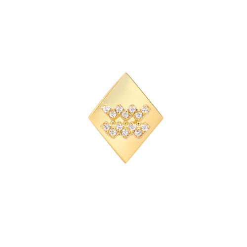 Gold Modern Look Diamond Accented Diamond Shape Zodiac Earring (Style#11016-11027)