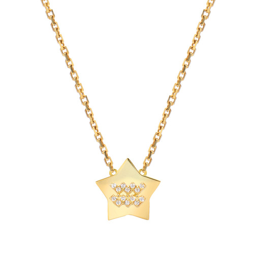 Gold Modern Look Diamond Accented Star Frame Zodiac Necklace (Style#11028-11039)