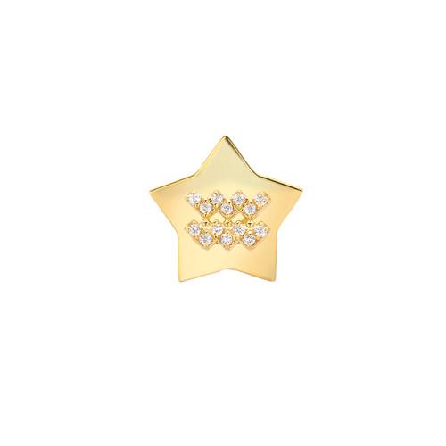 Gold Modern Look Diamond Accented Star Frame Zodiac Earring (Style#11028-11039)