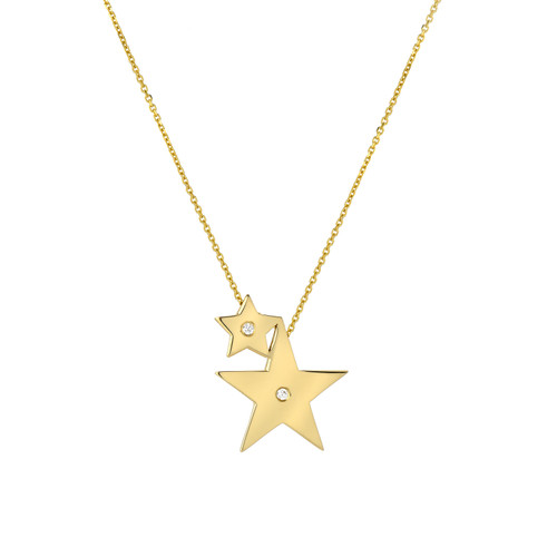 Fine Natural Diamond Accented Two Star Chic Sliding Pendant (Style#11808)