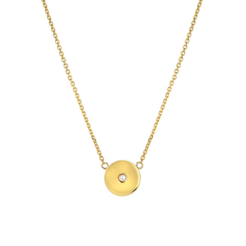 Fine Natural Diamond Accented Ladies Minimalist Circle Necklace (Style#11809)