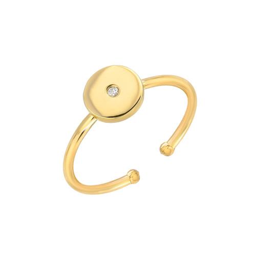 Natural Diamond Set Ladies Minimalist Circle Adjustable Ring (Style#11809)