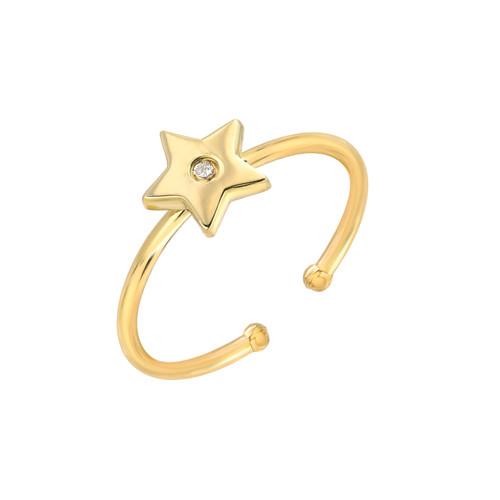 Natural Diamond Set Ladies Minimalist Star Adjustable Ring (Style#11810)