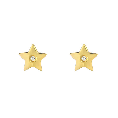 Fine Natural Diamond Accented Ladies Minimalist Star Earrings (Style#11810)
