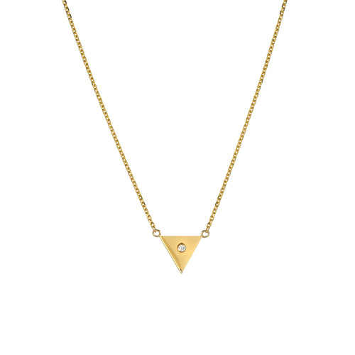 Natural Diamond Accented Ladies Minimalist Triangle Necklace (Style#11811)