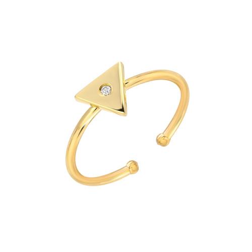 Natural Diamond Set Ladies Minimalist Triangle Adjustable Ring (Style#11811)