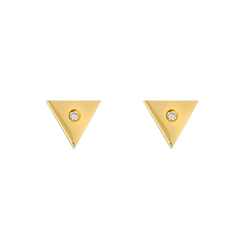 Natural Diamond Accented Ladies Minimalist Triangle Earrings (Style#11811)