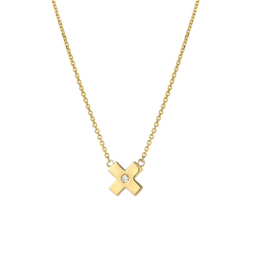 Fine Natural Diamond Accented Ladies Minimalist X Necklace (Style#11812)