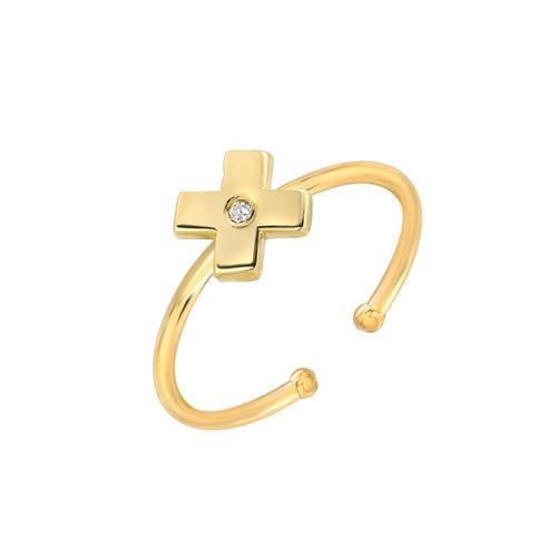 Natural Diamond Set Ladies Minimalist X Adjustable Ring (Style#11812)