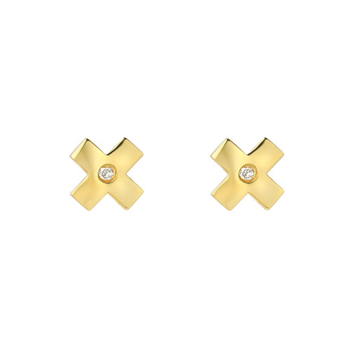 Fine Natural Diamond Accented Ladies Minimalist X Earrings (Style#11812)