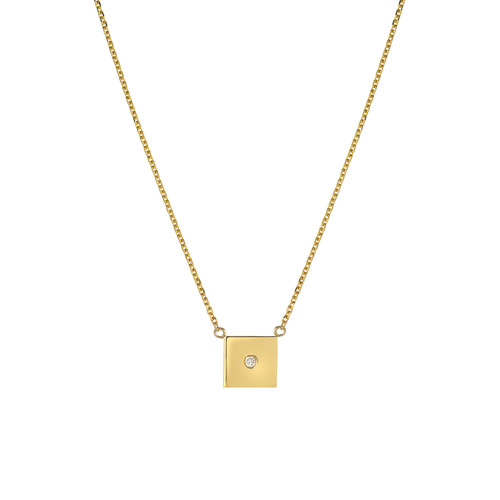 Fine Natural Diamond Accented Ladies Minimalist Square Necklace (Style#11813)