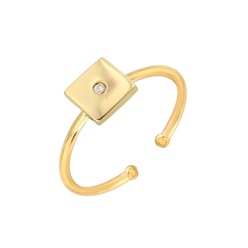 Natural Diamond Set Ladies Minimalist Square Adjustable Ring (Style#11813)