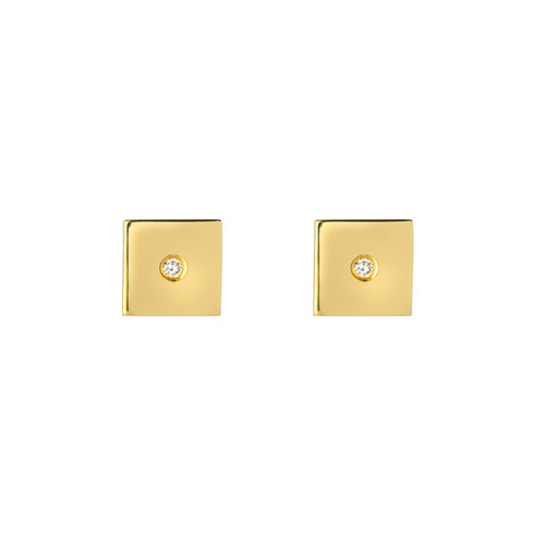 Fine Natural Diamond Accented Ladies Minimalist Square Earrings (Style#11813)