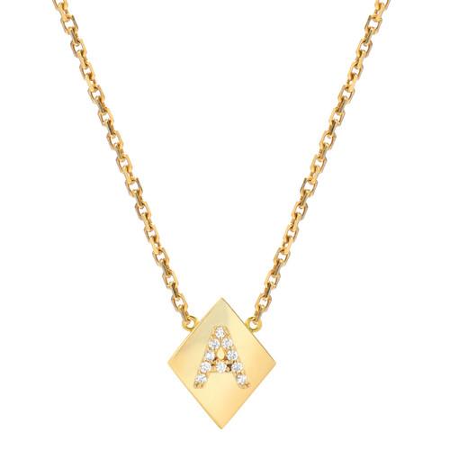 Gold Brilliant Diamond Set Initial Elegant Frame Necklace (Style#11156-11181)