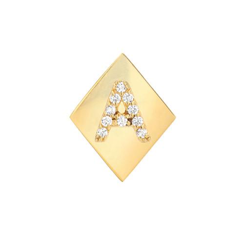 Gold Brilliant Diamond Initial Elegant Frame Single Earring (Style#11156-11181)