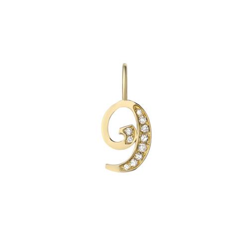 Diamond Set Classy Ladies Number Pendant (Style#11826-11835)