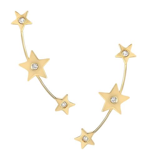 Stunning Diamond Set Star Long Curved Push-back Earrings (Style#11848)