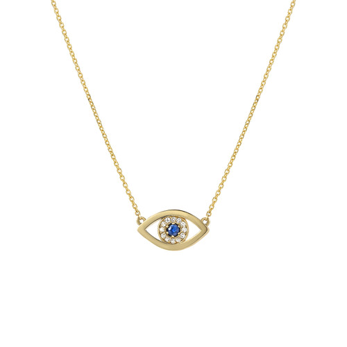Natural Sapphire and Diamond Set Evil Eye Protection Necklace (Style#11863)