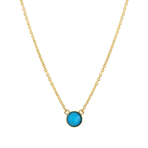 Gorgeous Real Turquoise Accented Minimalist Necklace (Style#11864)