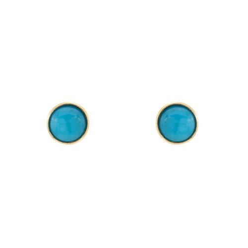 Gorgeous Real Turquoise Accented Push-back Stud Earrings (Style#11864)