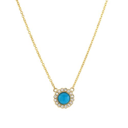 Elegant Bezel Set and Stunning Diamond Halo Necklace (Style#11865)