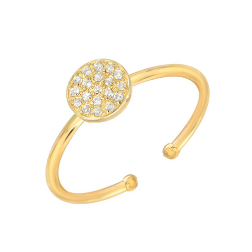 Impressive Diamond Cluster Accented Circle Shape Adjustable Ring (Style#11867)
