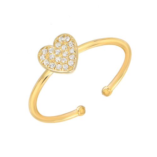 Impressive Diamond Cluster Accented Heart Shape Adjustable Ring (Style#11868)