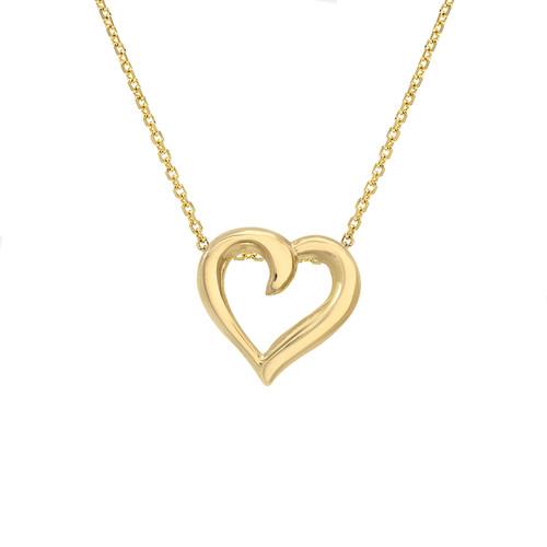 Lovely High Polish Finish Heart Shape Necklace (Style#11869)