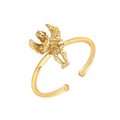 Cute High Polish Angel Cherub Adjustable Ring (Style#11870)