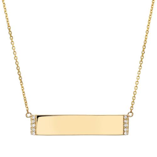 High Polish Modern Simplistic Diamond Accented Bar Necklace (Style#11898)