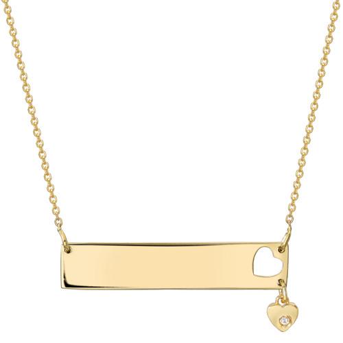 High Polish Modern Simplistic Diamond Set Heart Bar Necklace (Style#11899)